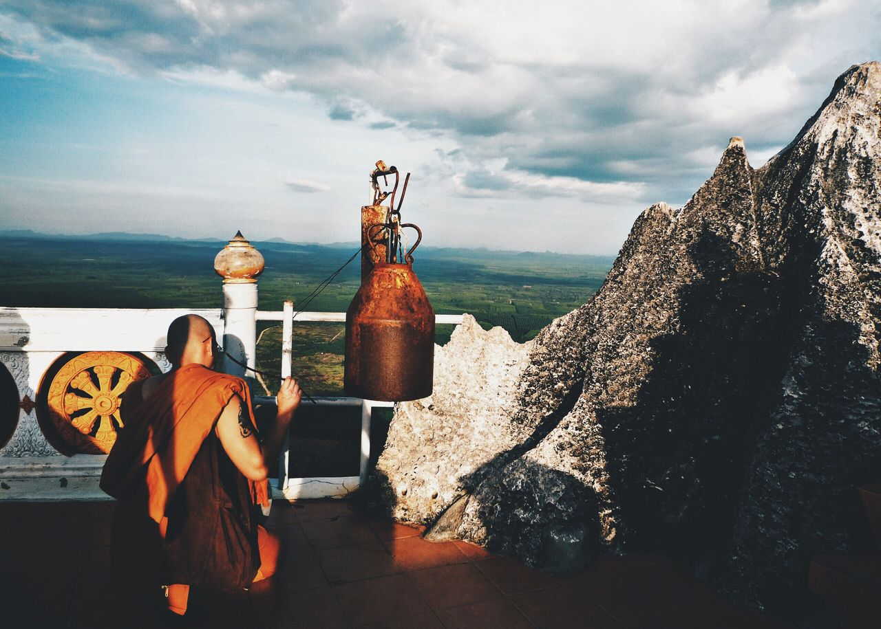 Buddhist Monk On Rooftop At Tiger Cave Temple