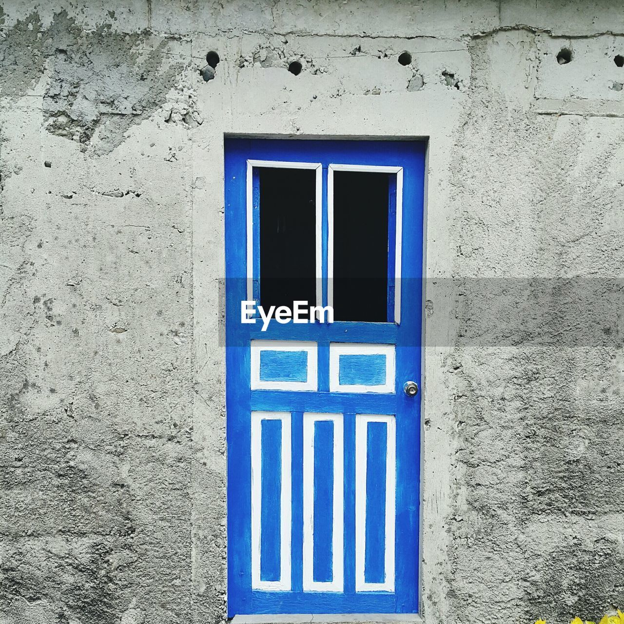 Close-up of closed blue door