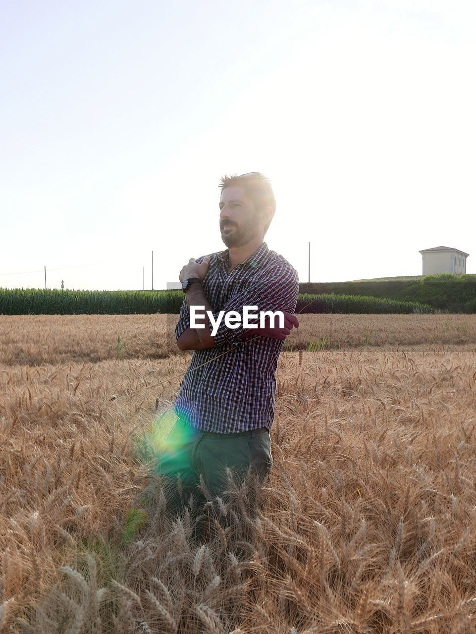 Man working in farm against clear sky