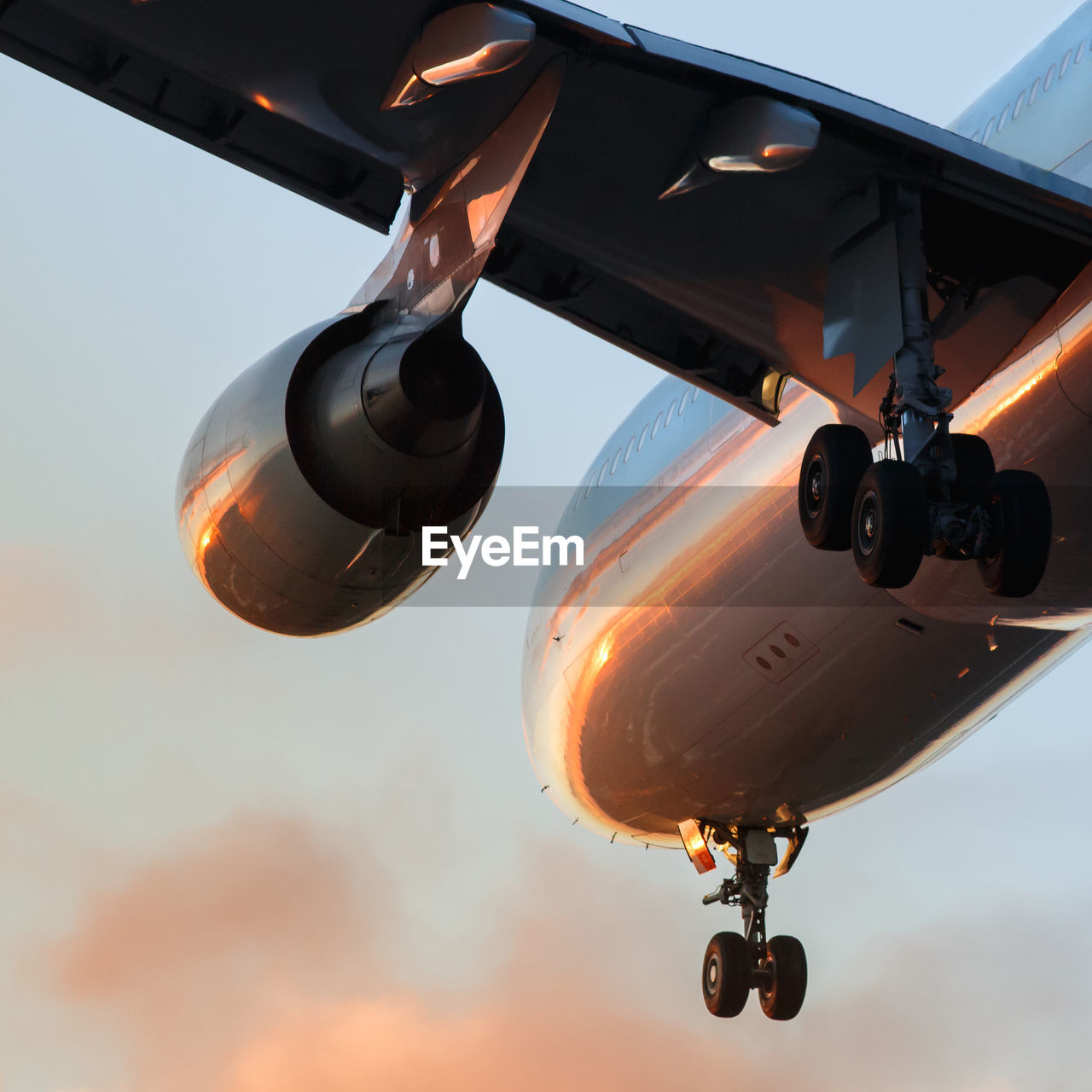 LOW ANGLE VIEW OF AIRPLANE AGAINST SKY DURING SUNSET