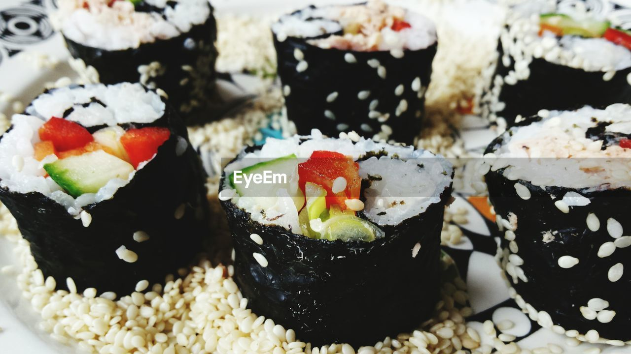 Close-up of fresh sushi with sesame seeds