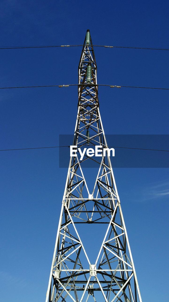 cable, connection, tower, electricity, low angle view, electricity pylon, day, power supply, blue, technology, clear sky, outdoors, no people, global communications, sky