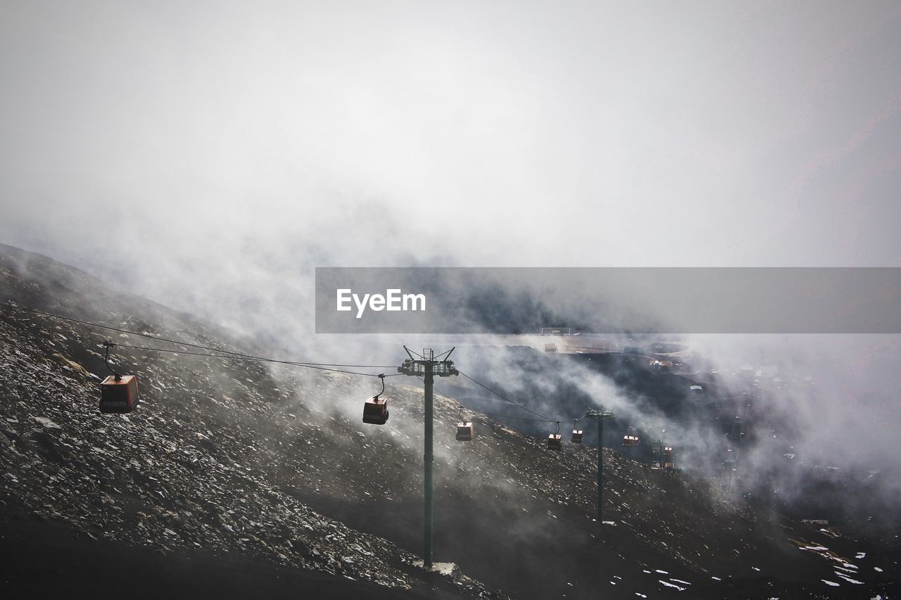 AERIAL VIEW OF MOUNTAIN AGAINST SKY DURING WINTER