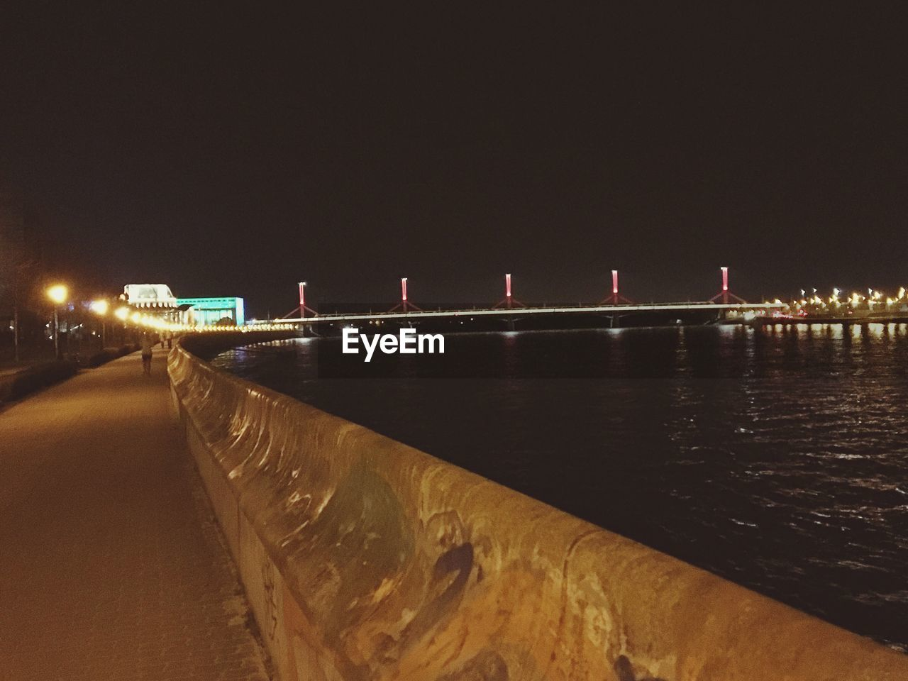 night, illuminated, bridge - man made structure, architecture, outdoors, built structure, clear sky, no people, nature, sky, water, city
