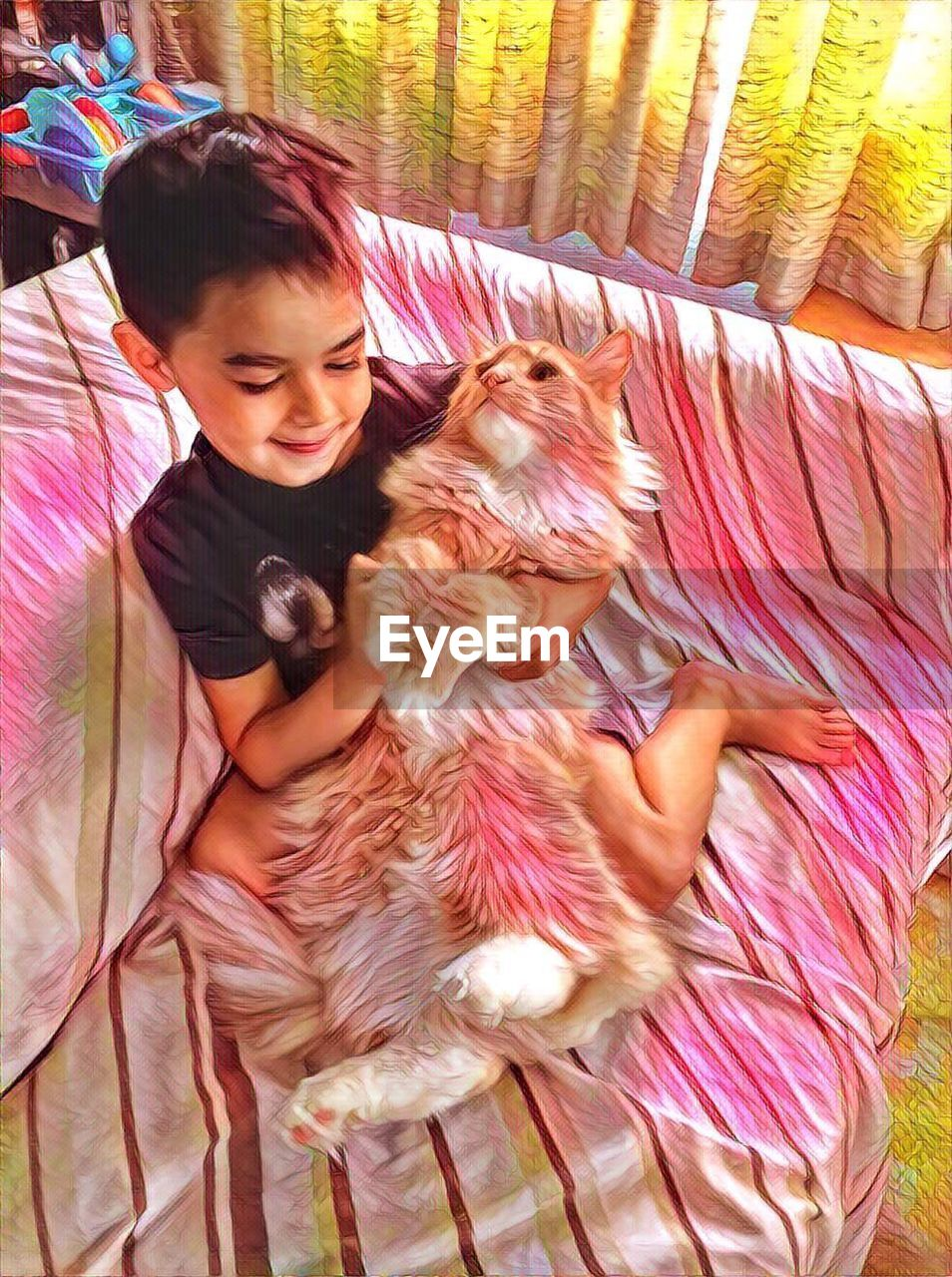 real people, bed, one person, dog, lifestyles, pets, domestic animals, childhood, home interior, cute, leisure activity, casual clothing, bedroom, indoors, animal themes, mammal, one animal, happiness, girls, playing, relaxation, smiling, pillow, day, young adult, people