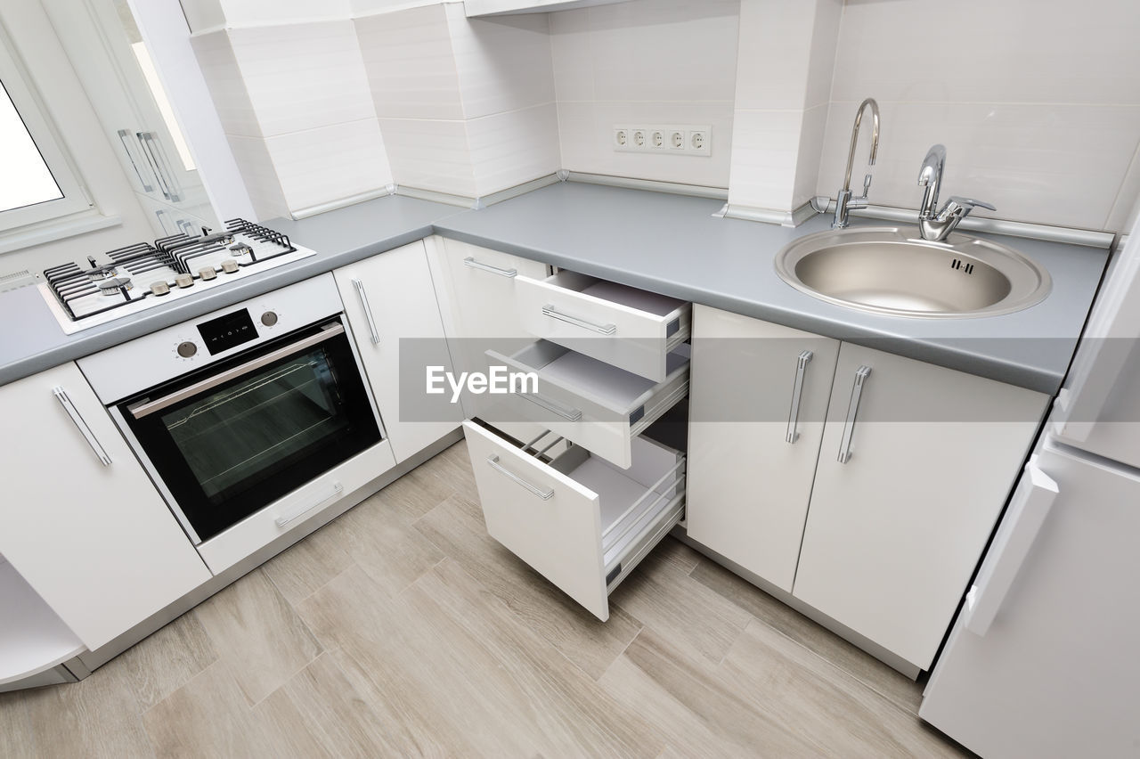 High Angle View Of Kitchen