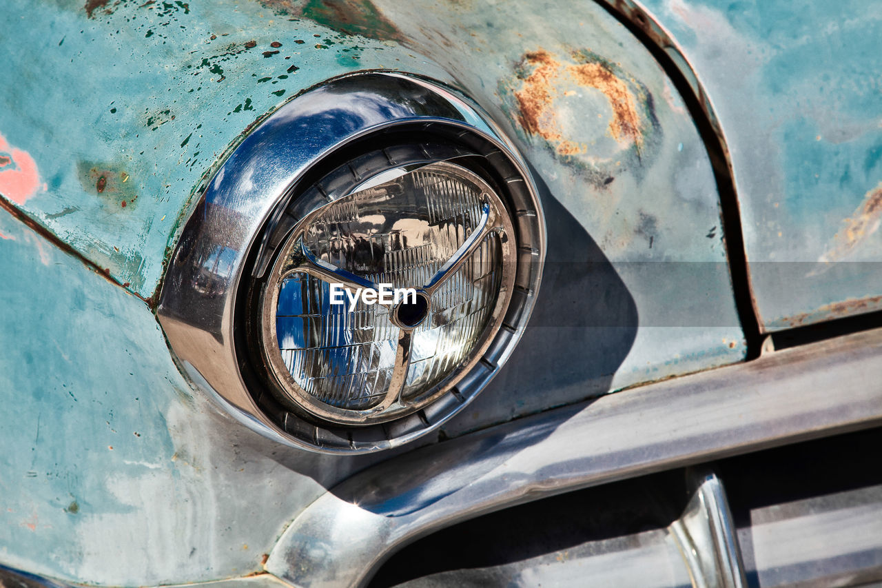 Close-up of old car
