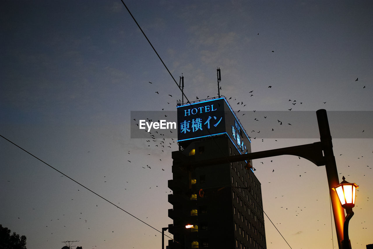 illuminated, low angle view, communication, guidance, dusk, text, direction, night, outdoors, architecture, no people, building exterior, road sign, sky, animal themes