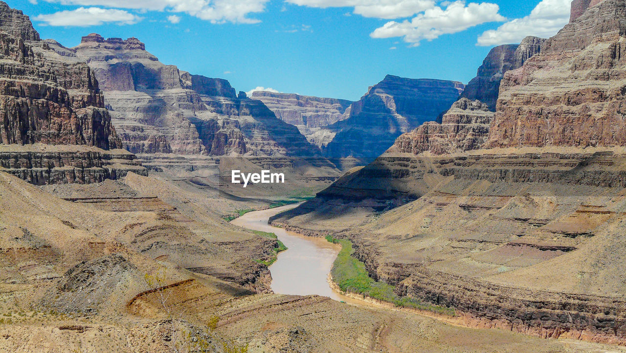 Scenic view of canyon against blue sky