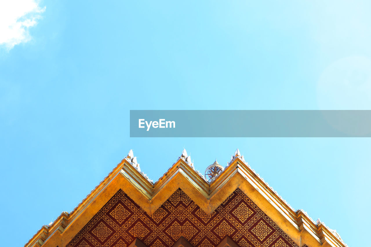 architecture, built structure, building exterior, low angle view, sky, building, copy space, no people, day, blue, high section, roof, nature, pattern, belief, shape, religion, clear sky, outdoors, place of worship, roof tile, ornate