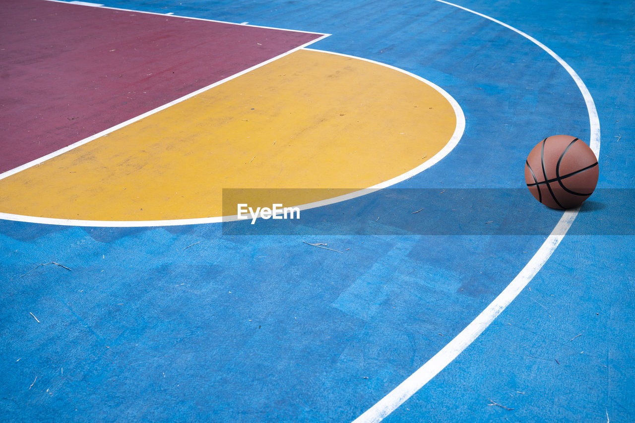 High angle view of basketball in court
