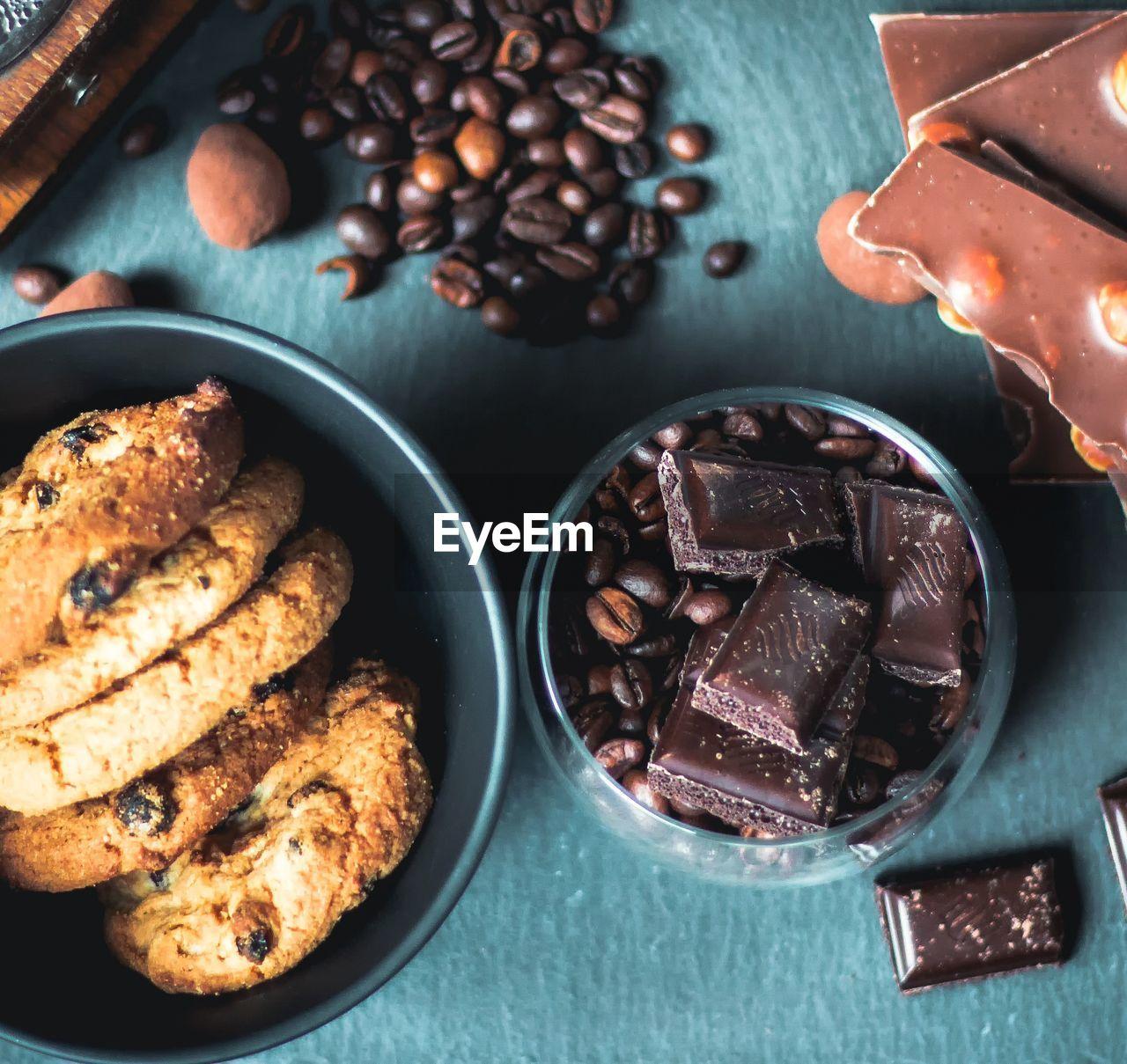 High Angle View Of Chocolate Cake And Coffee On Table