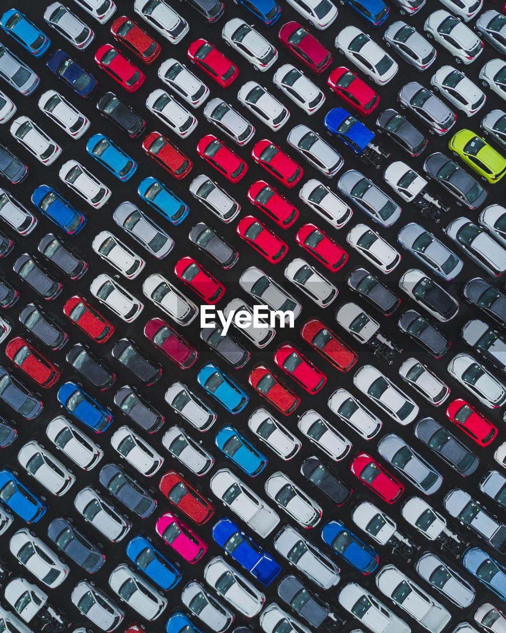 Full frame shot of colorful cars arranged at parking lot