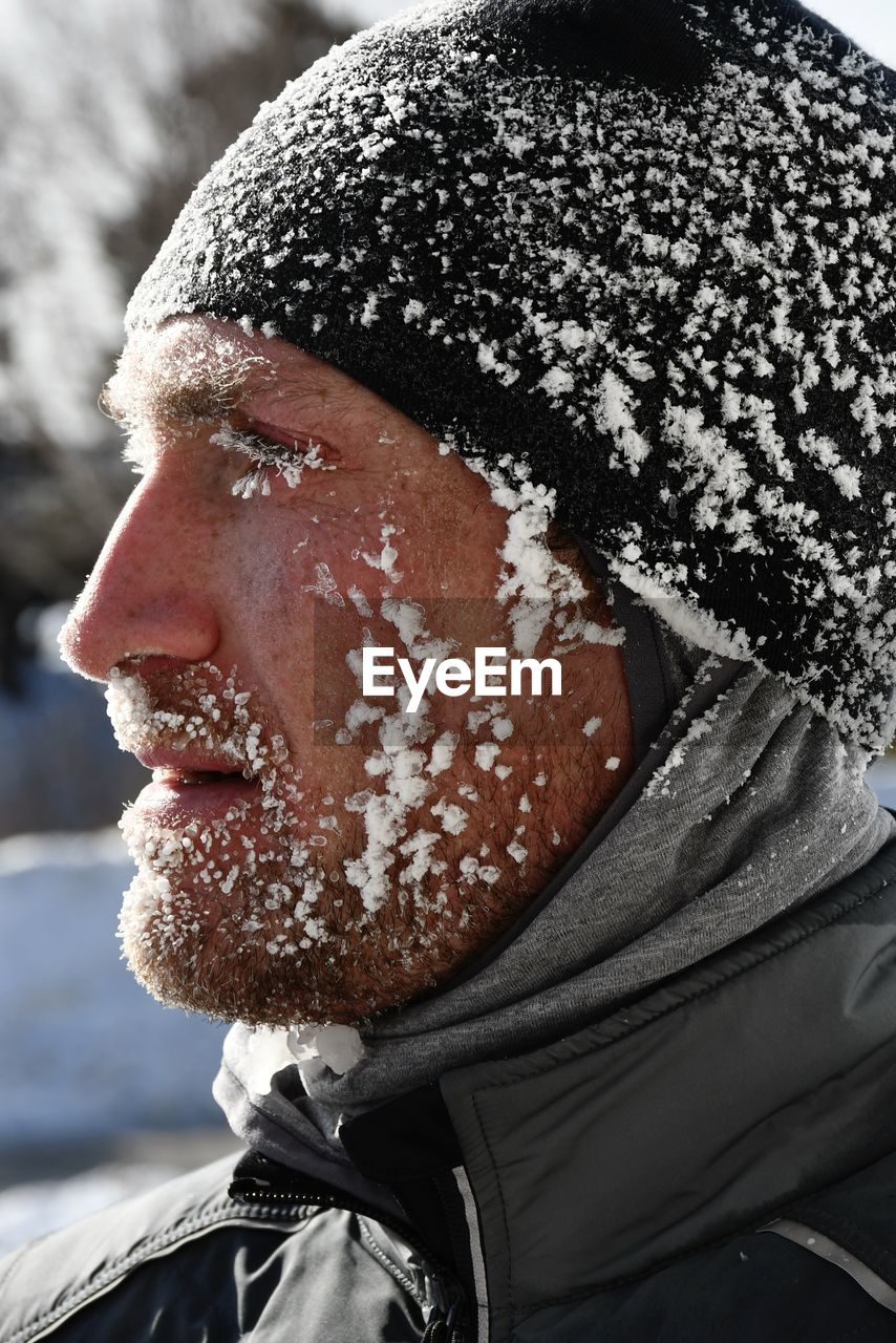 Close-up of man with ice snow