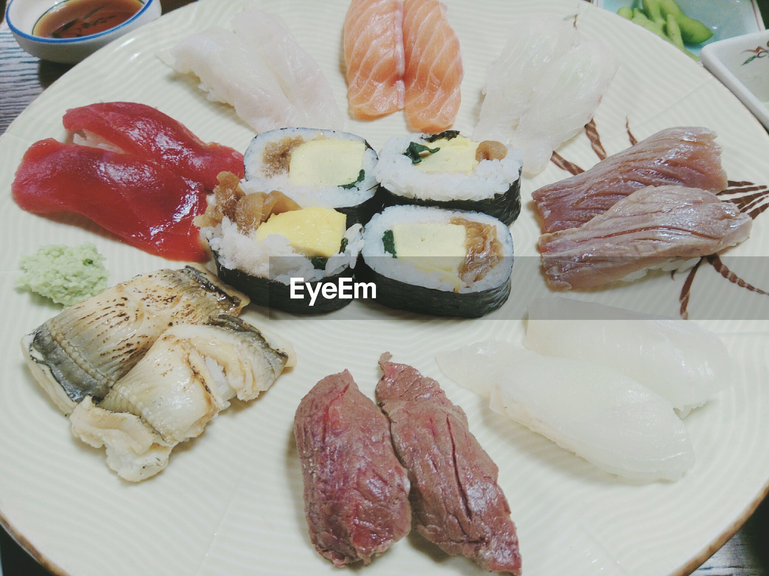 food and drink, food, freshness, plate, indoors, meat, ready-to-eat, healthy eating, still life, no people, close-up, wellbeing, table, high angle view, serving size, seafood, meal, asian food, raw food, japanese food, dinner, temptation