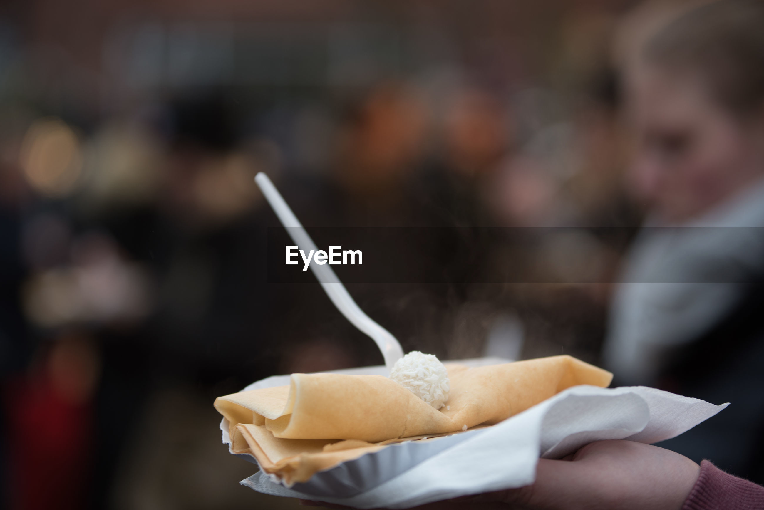 Close-up of crepes on paper