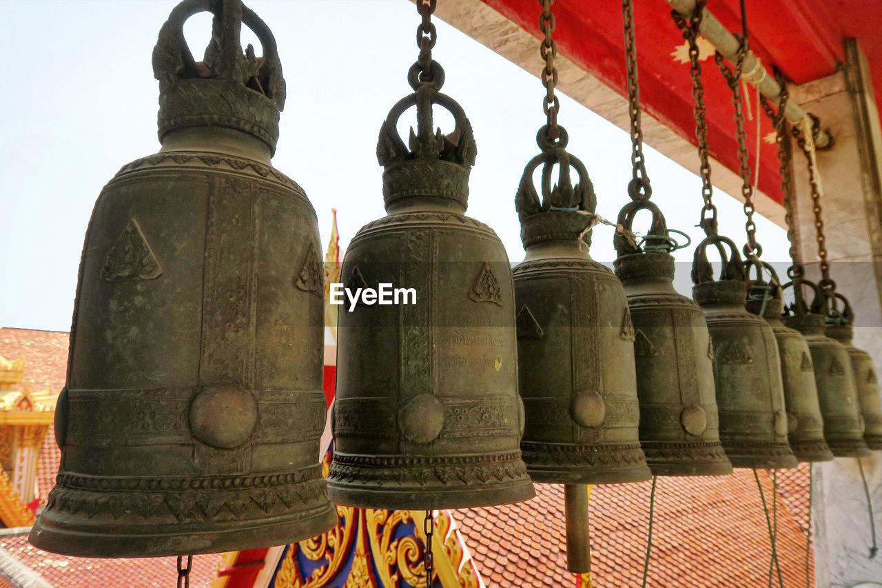 Bells hanging at wat hua lamphong
