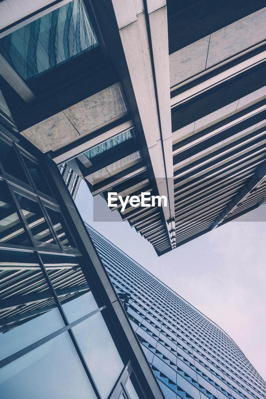 Directly Below Shot Of Modern City Building