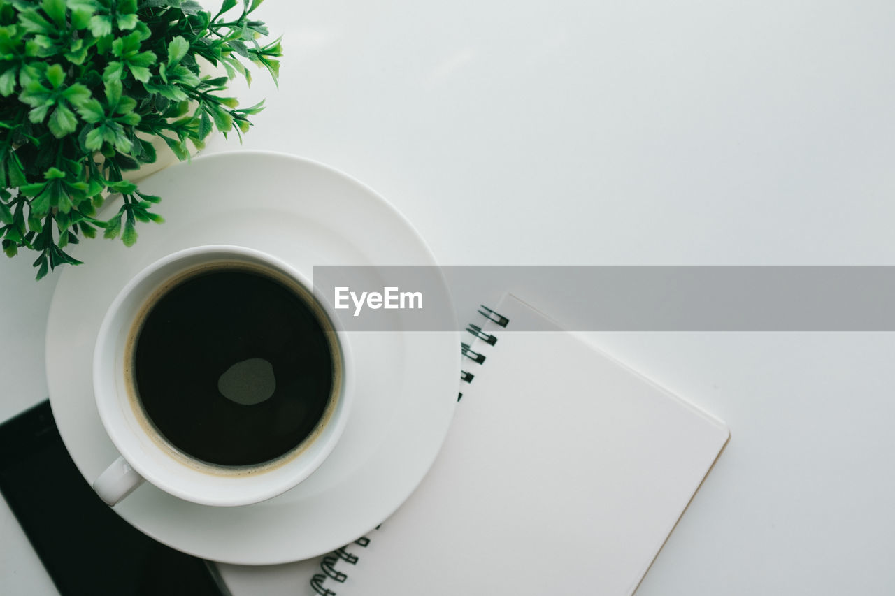 cup, drink, refreshment, mug, indoors, food and drink, directly above, table, coffee cup, saucer, coffee, studio shot, crockery, no people, still life, plant, tea, high angle view, white background, close-up, hot drink, tea cup, black tea, non-alcoholic beverage