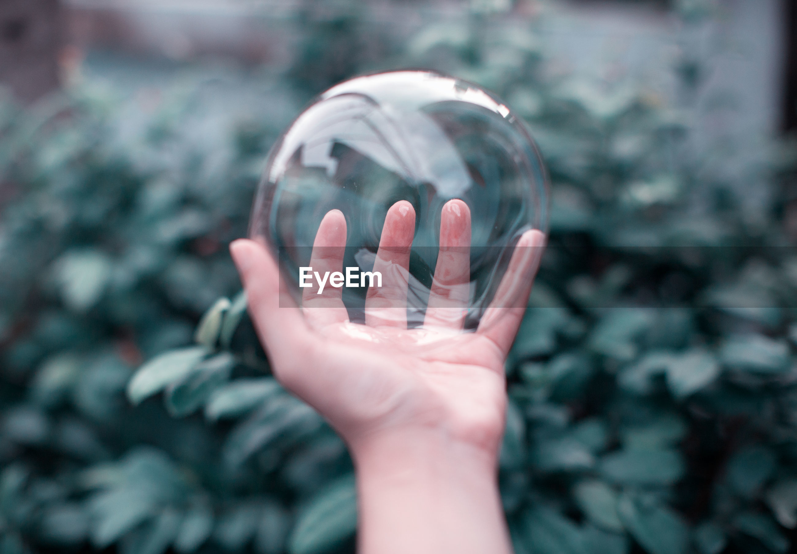 Cropped hand of child holding bubble against plants