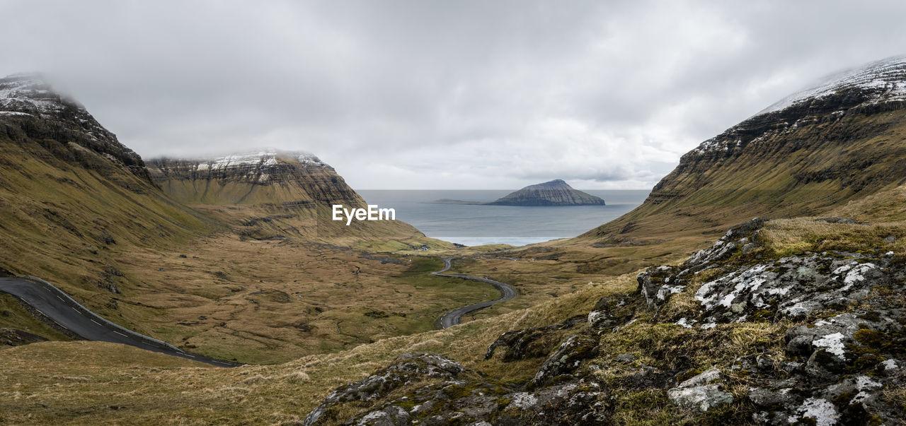 Panoramic View Seashore Against Cloudy Sky