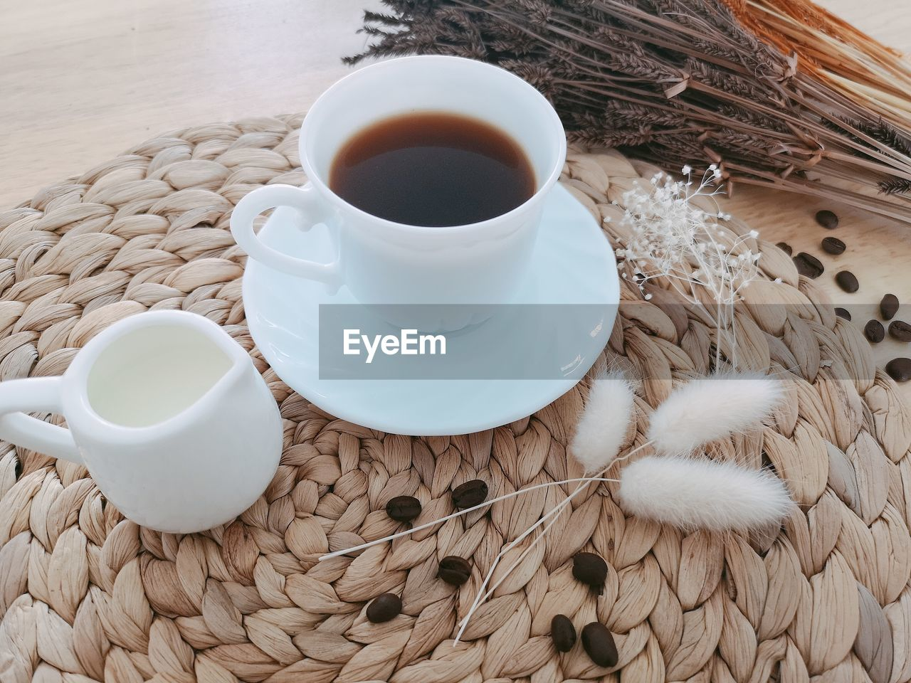 food and drink, drink, cup, refreshment, mug, coffee cup, crockery, table, high angle view, indoors, food, coffee - drink, coffee, saucer, tea, freshness, still life, no people, white color, tea - hot drink, hot drink, tea cup, place mat, non-alcoholic beverage
