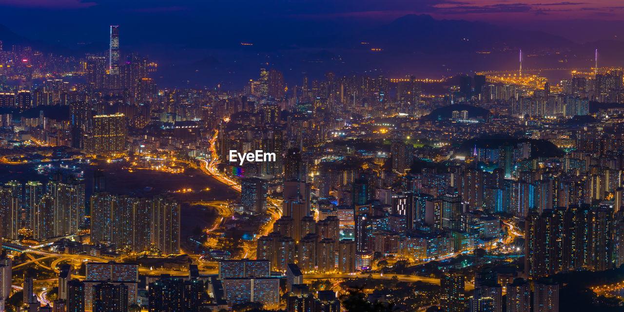 Aerial View Of Hong Kong Lit Up At Night