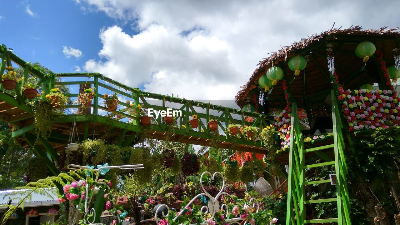 cloud - sky, sky, nature, plant, amusement park, group of people, arts culture and entertainment, day, amusement park ride, built structure, architecture, crowd, enjoyment, large group of people, leisure activity, hanging, fun, real people, low angle view, outdoors