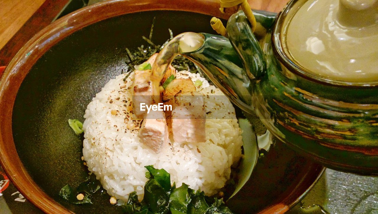 food and drink, food, healthy eating, wellbeing, freshness, indoors, still life, no people, ready-to-eat, high angle view, close-up, bowl, vegetable, table, rice - food staple, kitchen utensil, household equipment, serving size, directly above, crockery