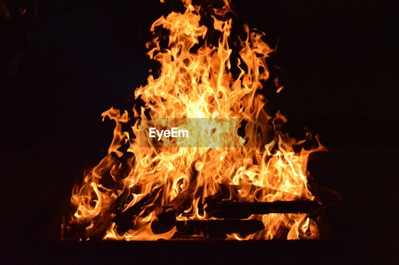 flame, burning, heat - temperature, orange color, no people, close-up, night, outdoors, bonfire