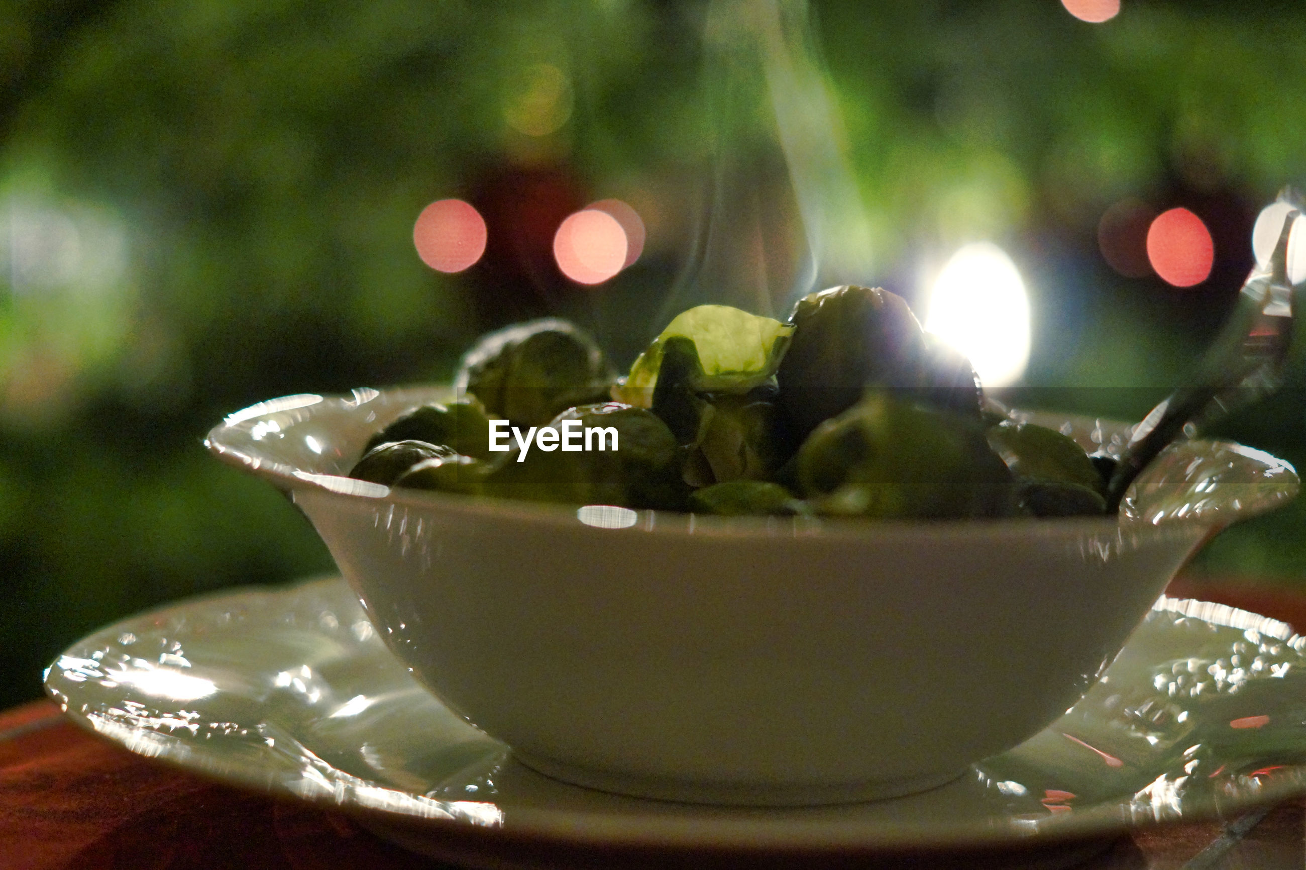 Close-up of brussels sprout in bowl on table