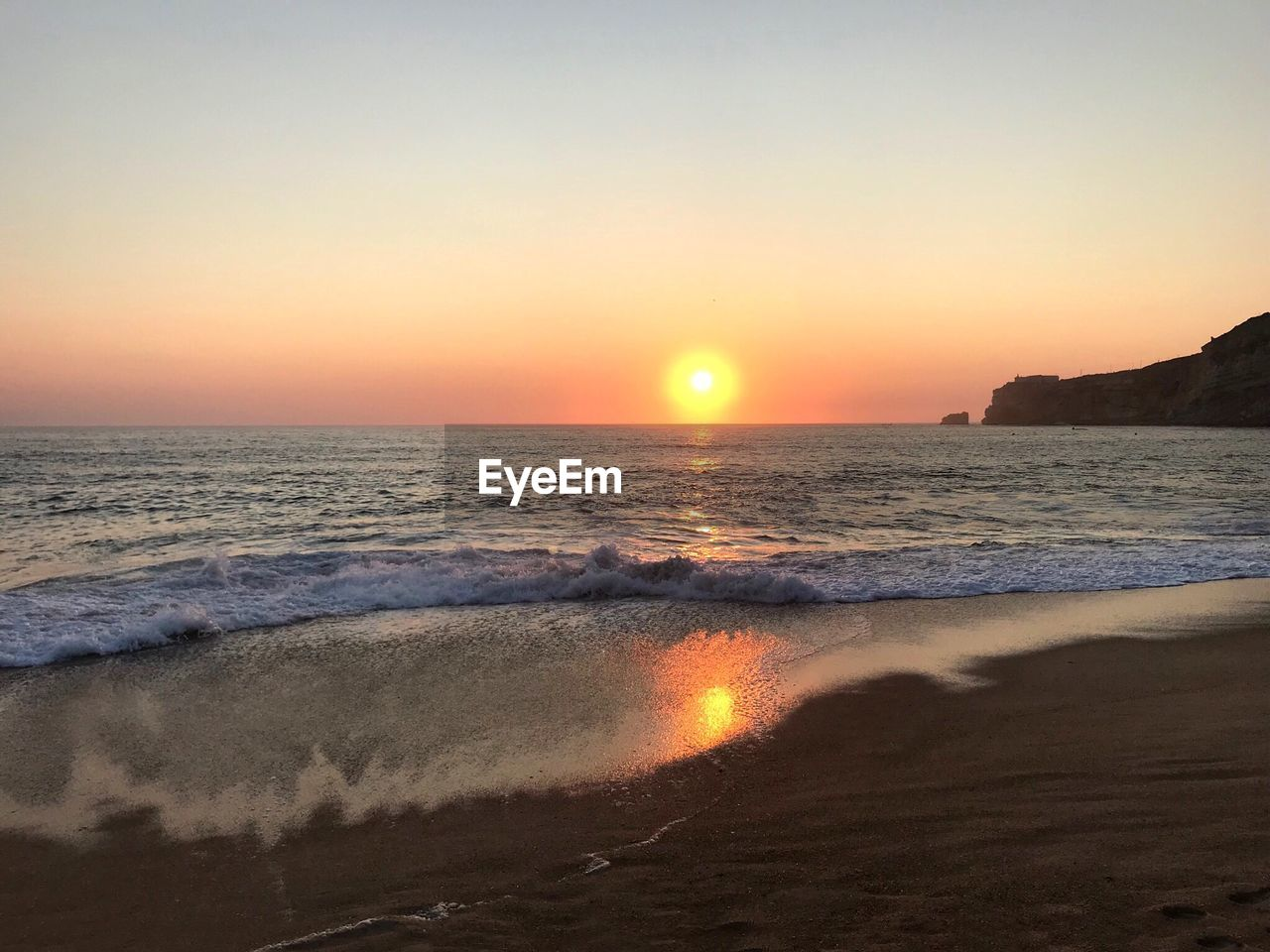 sky, sunset, sea, water, scenics - nature, beauty in nature, beach, land, sun, horizon over water, horizon, wave, tranquility, tranquil scene, orange color, idyllic, motion, no people, nature, outdoors