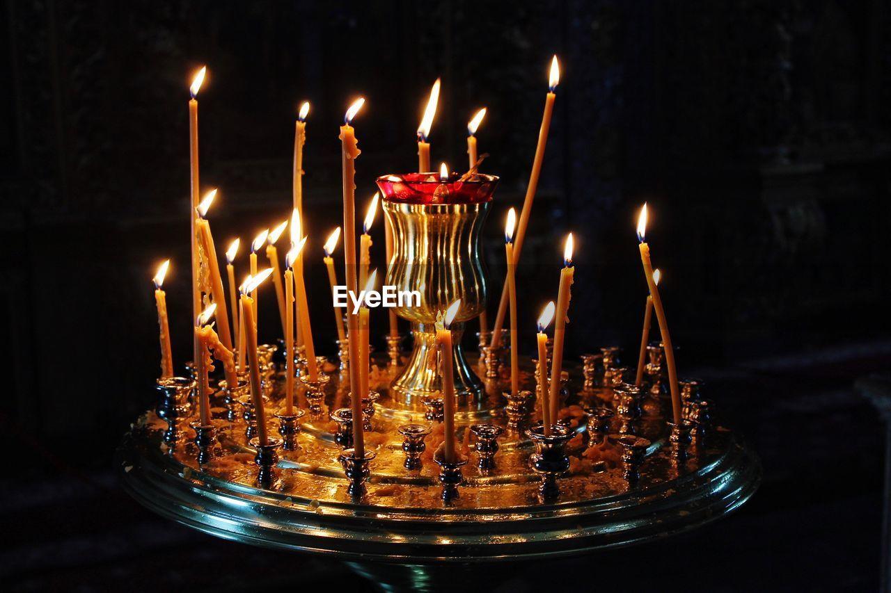 flame, candle, burning, heat - temperature, glowing, illuminated, indoors, no people, religion, spirituality, close-up, night