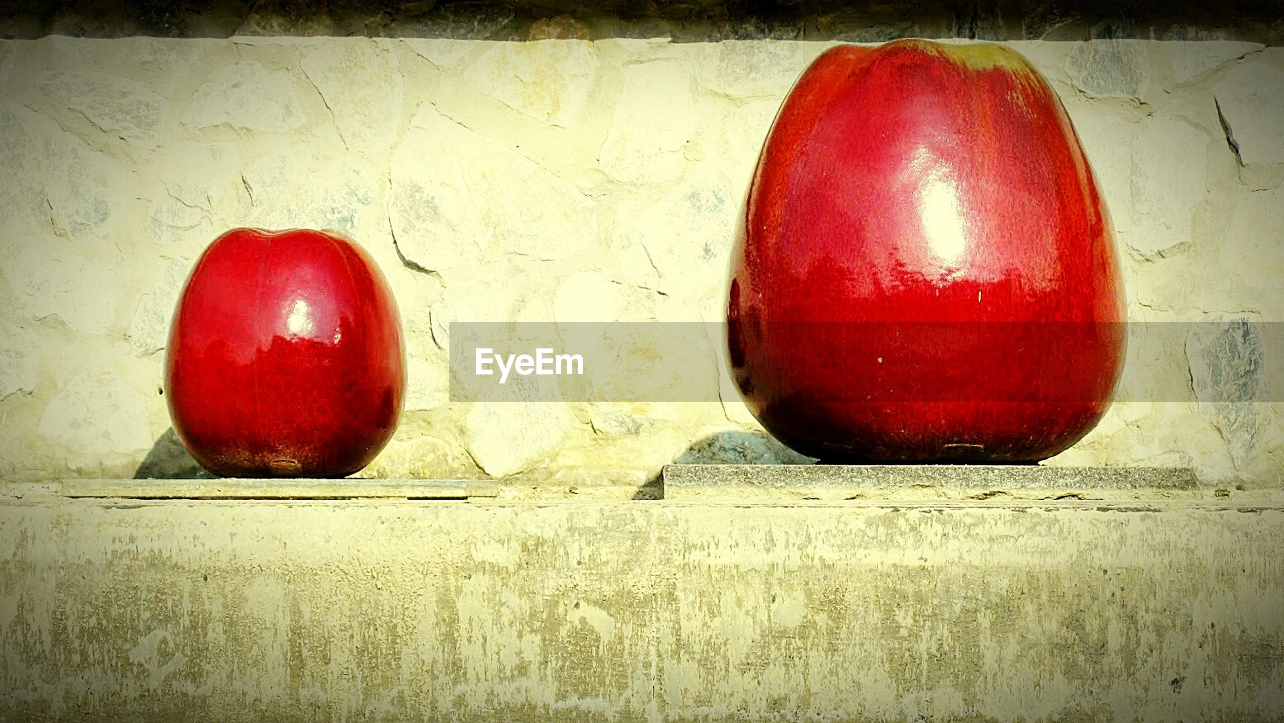 Close-up of apples on wall