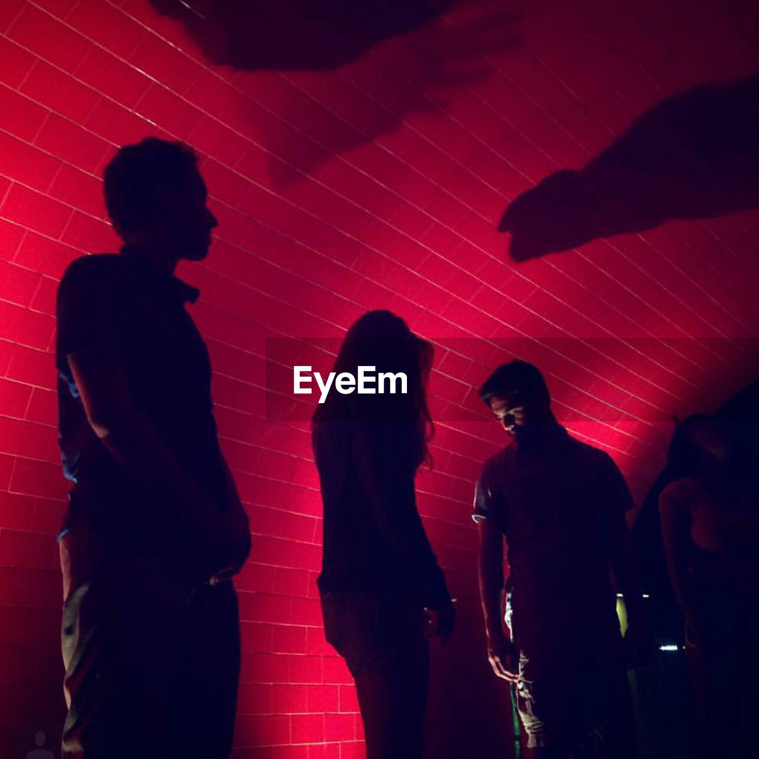 men, indoors, lifestyles, togetherness, night, person, illuminated, leisure activity, standing, large group of people, silhouette, arts culture and entertainment, rear view, performance, red, nightlife, music
