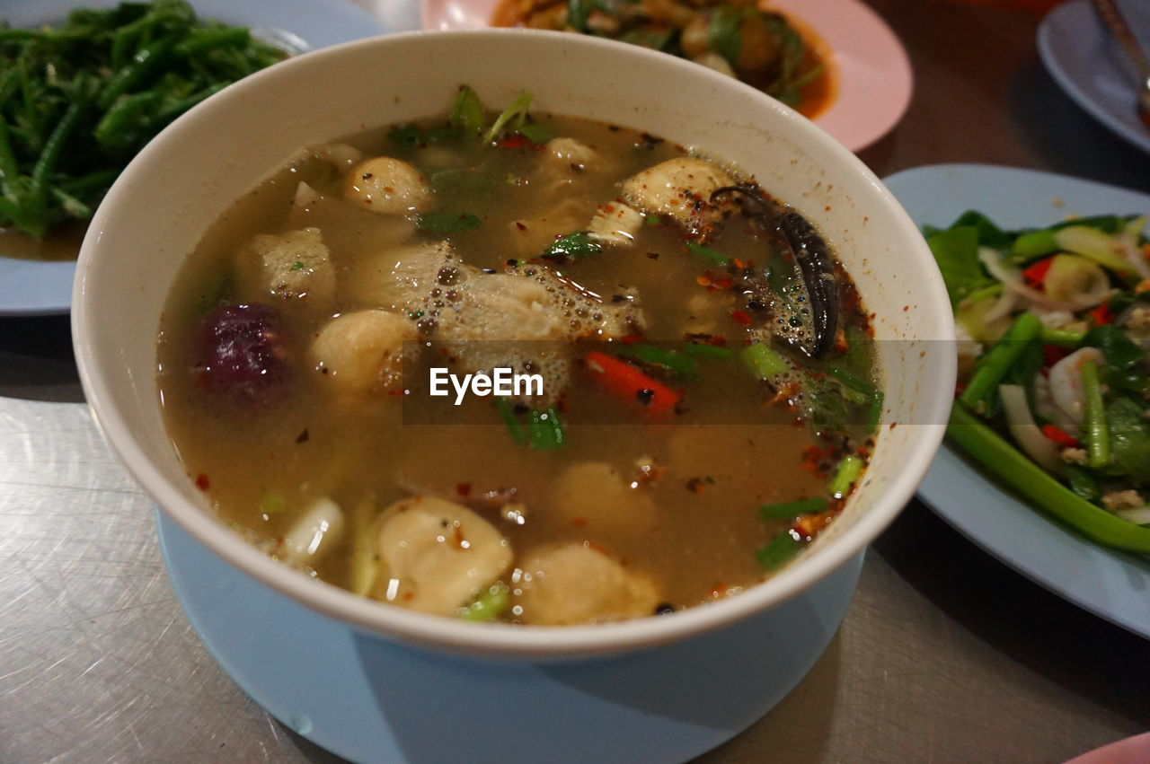 food, ready-to-eat, food and drink, bowl, healthy eating, wellbeing, table, freshness, soup, close-up, serving size, still life, indoors, vegetable, no people, high angle view, focus on foreground, indulgence, garnish, soup bowl, vegetable soup, crockery, temptation, vegetarian food