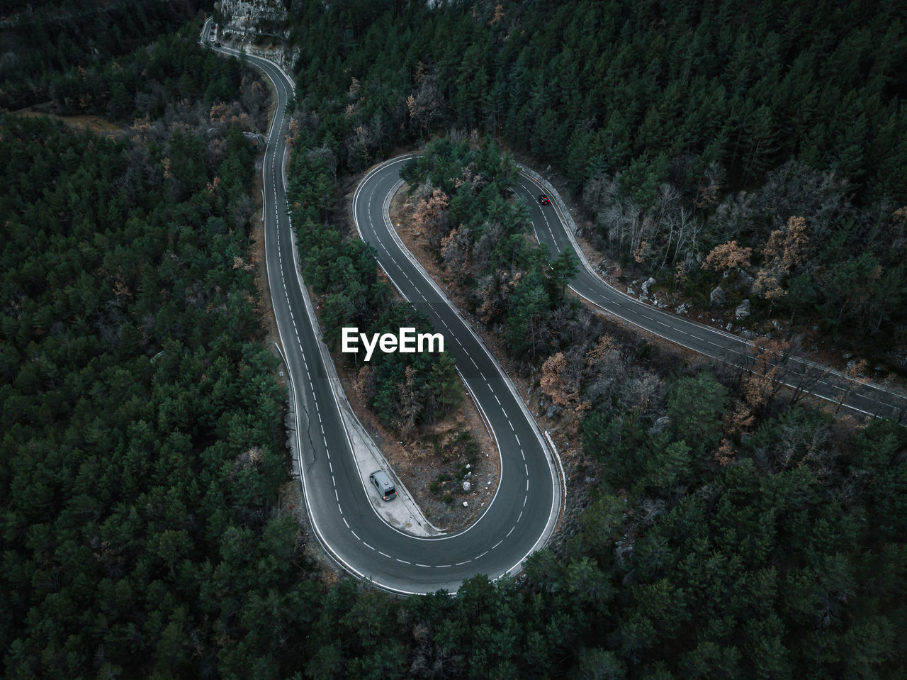 High angle view of highway amidst trees