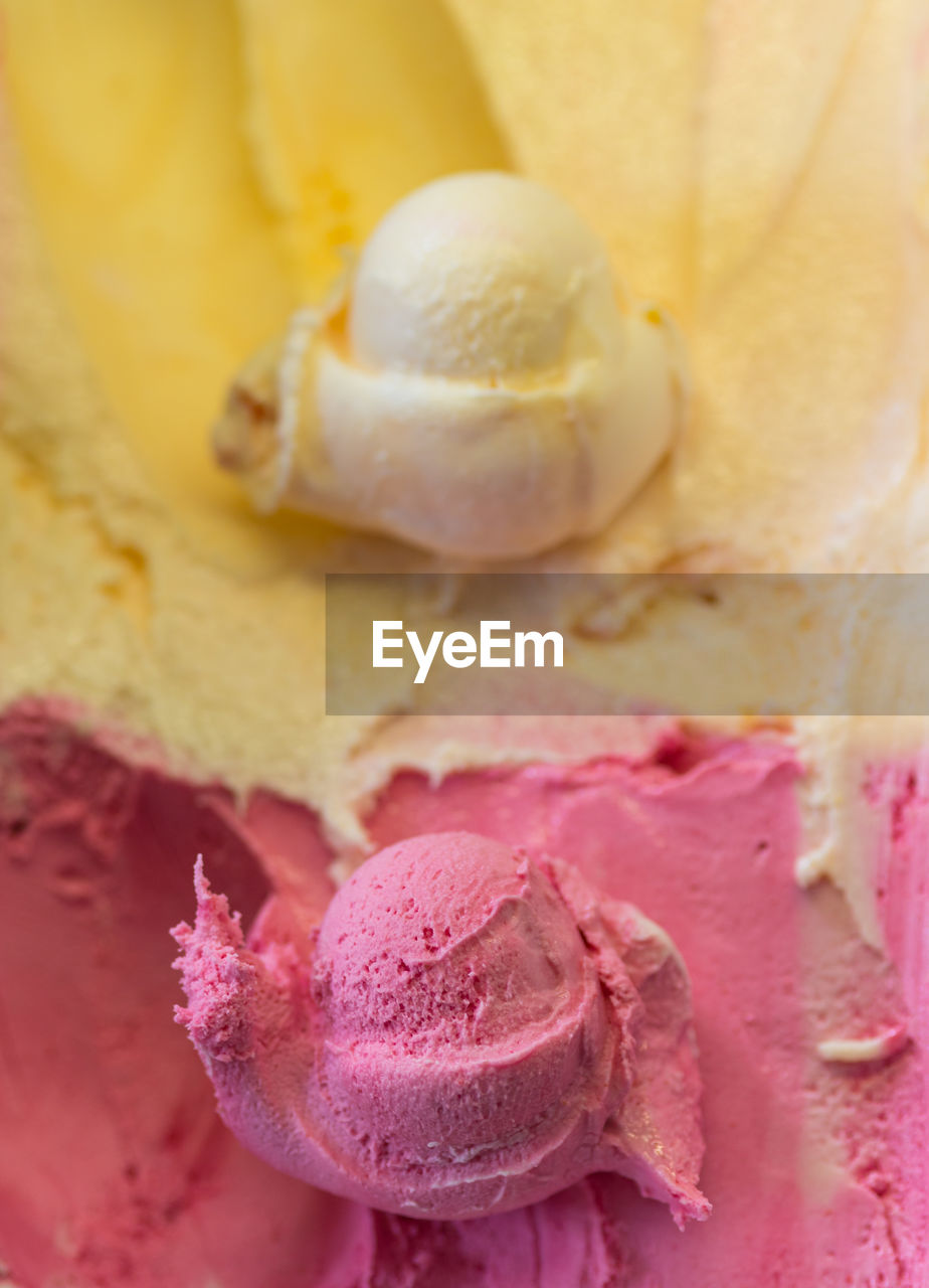 Full frame shot of pink and yellow ice cream