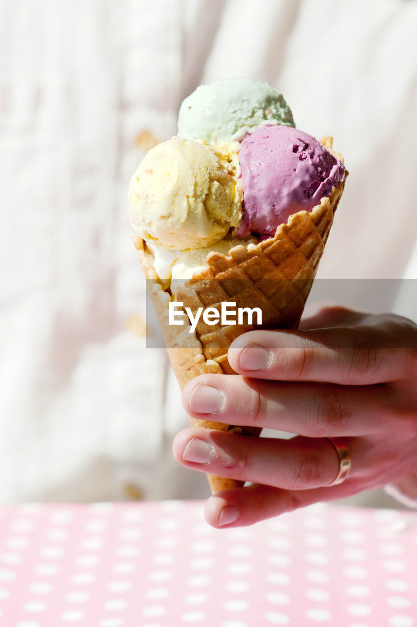human hand, hand, sweet, ice cream, sweet food, food and drink, dairy product, one person, food, holding, indulgence, frozen food, frozen, dessert, unhealthy eating, temptation, human body part, cone, freshness, ice cream cone, body part, finger, nail, frozen sweet food