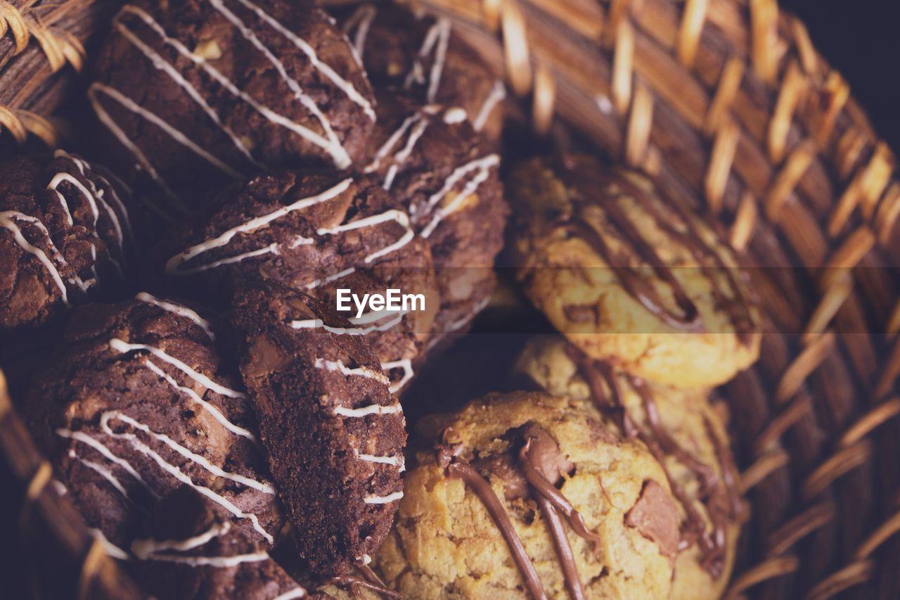 Close-up of cookies in wicker basket