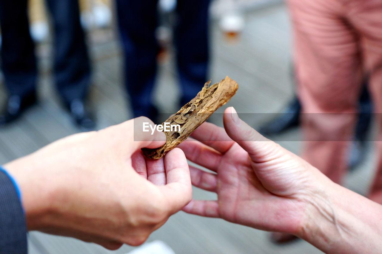 Cropped hand giving marijuana to friend
