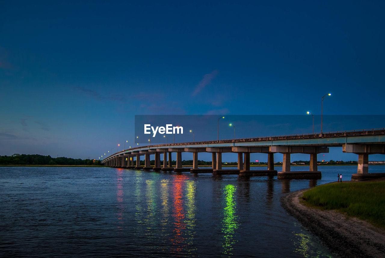 Lake And Bridge Against Blue Sky At Dusk