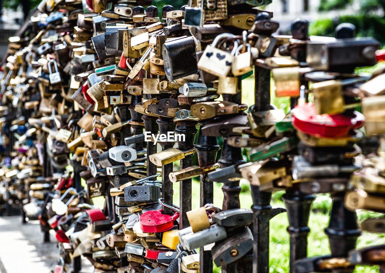 Full Frame Shot Of Love Locks On Railing