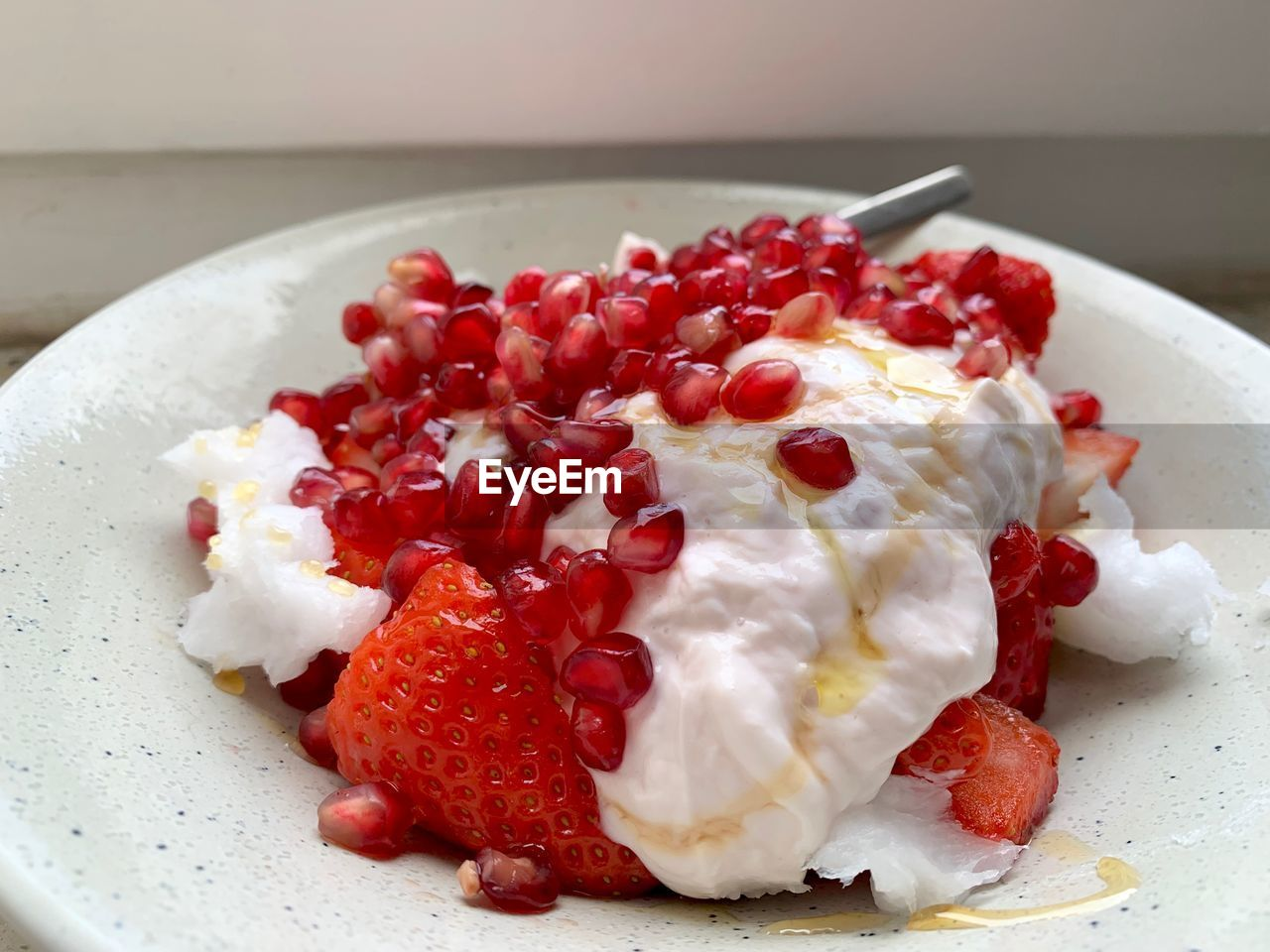 food, food and drink, freshness, healthy eating, fruit, wellbeing, red, indoors, close-up, still life, ready-to-eat, berry fruit, plate, no people, strawberry, indulgence, pomegranate, seed, table, serving size, breakfast, yogurt, temptation