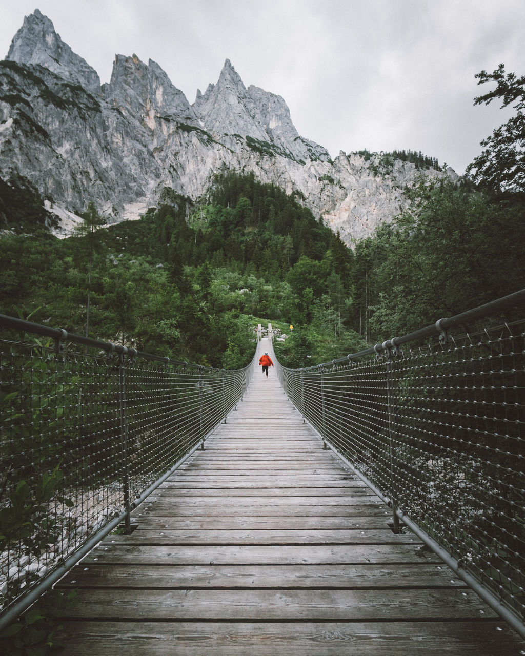 mountain, direction, real people, one person, the way forward, railing, bridge, beauty in nature, connection, footbridge, nature, scenics - nature, architecture, lifestyles, built structure, tree, rear view, bridge - man made structure, wood - material, leisure activity, diminishing perspective, mountain range, outdoors