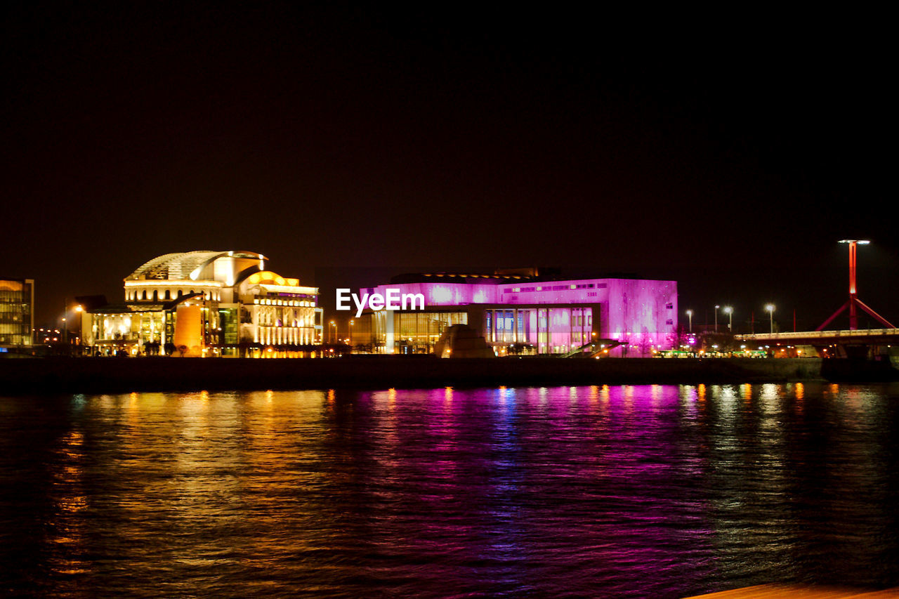night, illuminated, architecture, built structure, building exterior, water, waterfront, sky, no people, outdoors, nature
