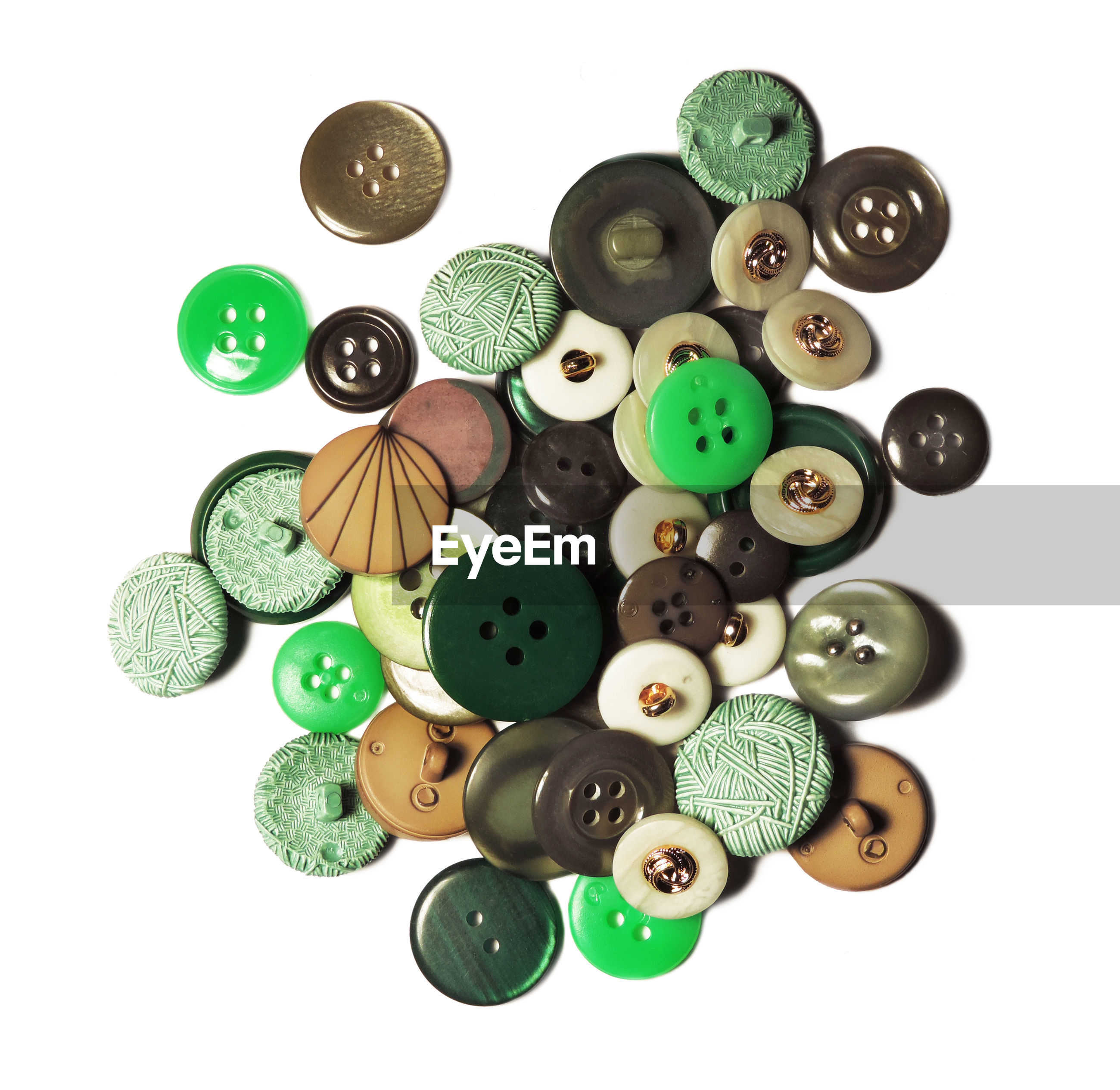 Multi colored buttons on white background