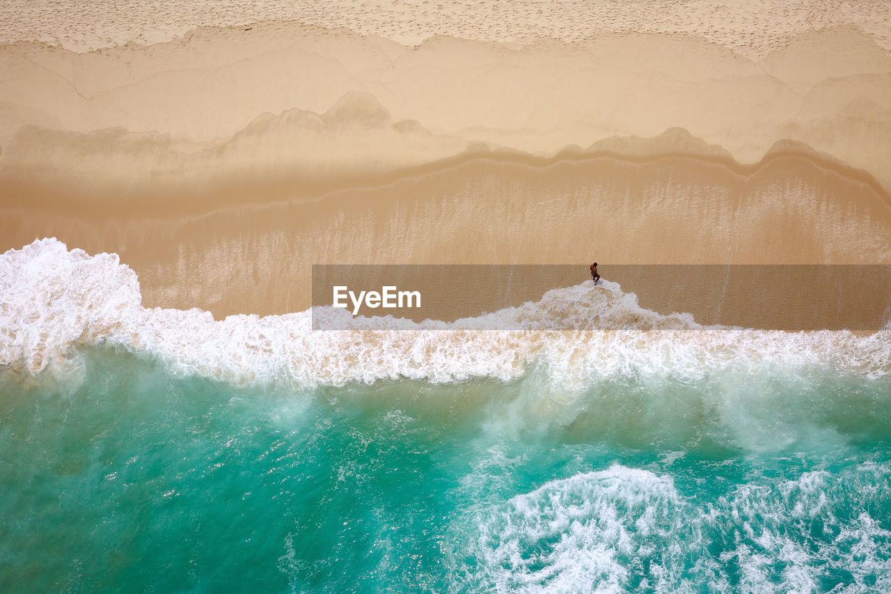 High Angle View Of Man On Beach