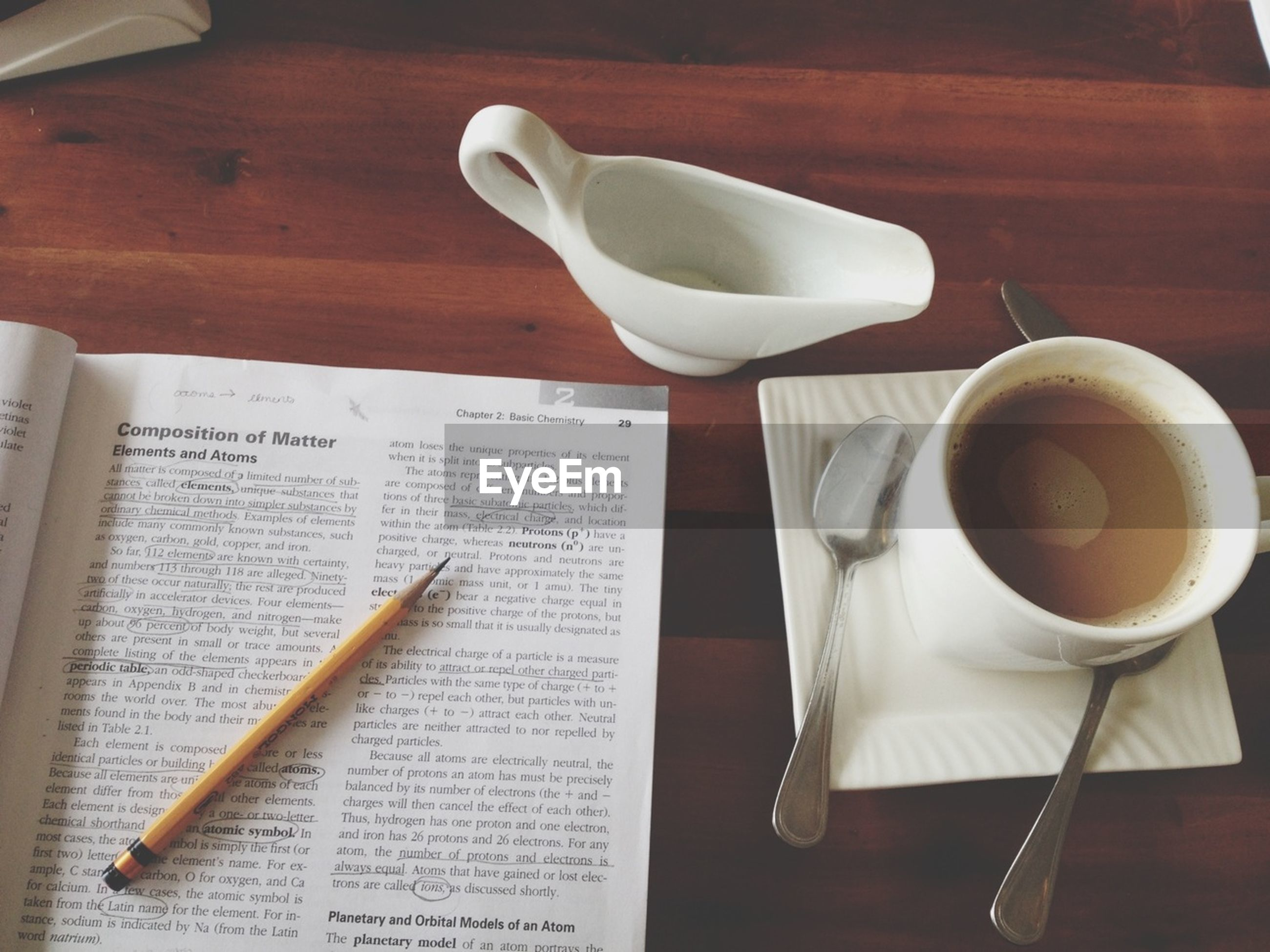 indoors, table, coffee cup, food and drink, drink, still life, coffee - drink, refreshment, spoon, freshness, saucer, coffee, cup, fork, book, high angle view, close-up, plate, paper, pen