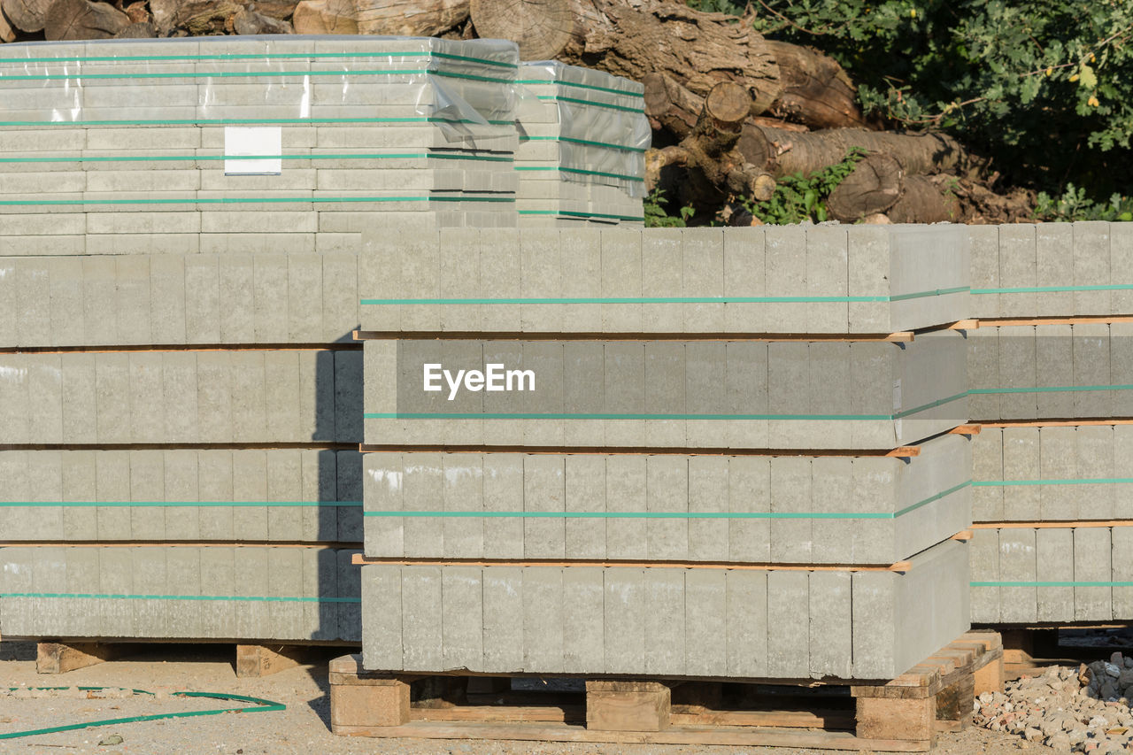 Stacked Concrete Slabs At Construction Site